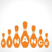 Bowling pins fare parola finanza — Vettoriale Stock