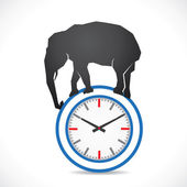 Very difficult time concept show elephant on clock — Stockvector