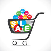 Sale text in shopping cart — Stock Vector
