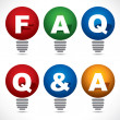 Bulb with FAQ and Q&A text  — Stock Vector
