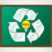 återvinna symbol med lampa skiss — Stockvektor