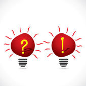 Red bulb with question mark and exclamatory sign — Stock Vector