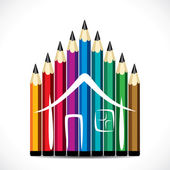 Colorful pencil home design — Stock Vector