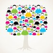 Stock Vector: Colorful social media network tree