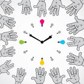 Abstracte hand proberen te stoppen lamp klok — Stockvector