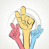 Hand show victory sign — Stock Vector