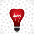 Heart shape bulb is design and love like filament — Stock Vector