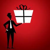 Men with big gift — Stockvector