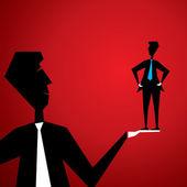 Big men lift small men in hand — Stock Vector