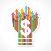 Símbolo de dólar na lâmpada de seta colorida — Vetorial Stock