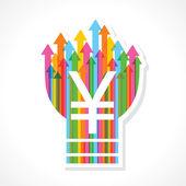 Símbolo de ienes para lâmpada de seta colorida — Vetorial Stock