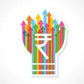 Rupee symbol on colorful arrow bulb — Stock Vector