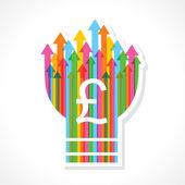 Símbolo de libra en bulbo flecha colorido — Vector de stock