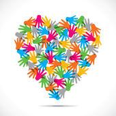 Creative hand design heart — Vetor de Stock