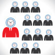 Twelve views of clock on man's face — Stock Vector