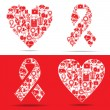 Royalty-Free Stock Vector Image: Medical icons make a heart and aids shape