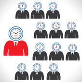 Twelve views of clock on man's face — Stock Vector