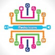 Set of Media and Music Icons — Stock Vector