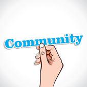 Community word in hand — Stock Vector