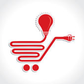 Wired Shopping Cart Icon with Bulb and Plug — Stock Vector