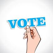 Vote word in hand — Stock Vector