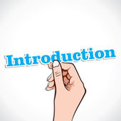 Introduction word in hand — Stock Vector