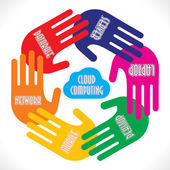 Hands showing Cloud Computing — Stock Vector