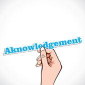 Acknowledgement word in hand — Stock Vector