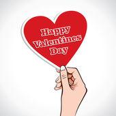 Valentine Heart word in hand — Wektor stockowy