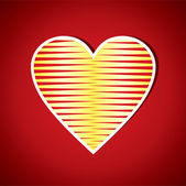 Red Stripped Heart Shape — Stockvector