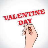 Palabra del día de San Valentín en mano — Vector de stock
