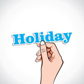 Holiday word in hand — Stock Vector