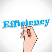 Efficiency word in hand — Vector de stock