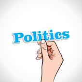 Politics word in hand — Stock Vector