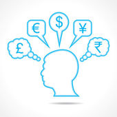 Man thinking about currency — Stock Vector