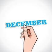 December Word In Hand — Stock Vector