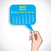 Mai 2013 calendrier en main — Vecteur