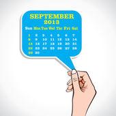 September 2013 Calender In Hand — Stock Vector