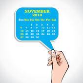 November 2013 Calender In Hand — Stock Vector