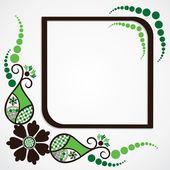 Green flower leaf frame background — Stock Vector