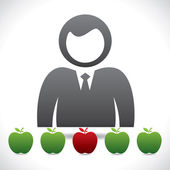 Choose right apple — Stock Vector