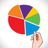 Pie chart in hand — Vector de stock