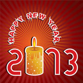 New year Greeting with candle — Vector de stock