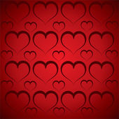 Hjärtmönster i röd bakgrund — Stockvektor
