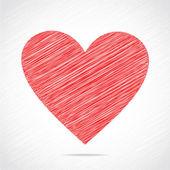 Disegno cuore rosso schizzo — Vettoriale Stock