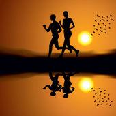 Running on sunset — Stock Vector