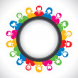 Men and women organized in a round — Imagen vectorial