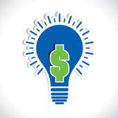 Zelený dolar v žárovka — Stock vektor