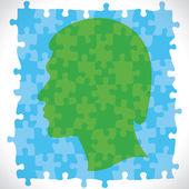 Logiczne kawałek projekt ludzkiej głowy — Wektor stockowy