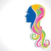 Colorful hair fashion girl — Stock Vector
